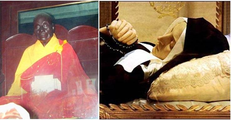 Thân thể bất hoại của đại sư Huệ Năng ở phương Đông và của thánh Bernadette Brown ở phương Tây bao nhiêu năm vẫn còn nguyên vẹn. (Ảnh: t/h)