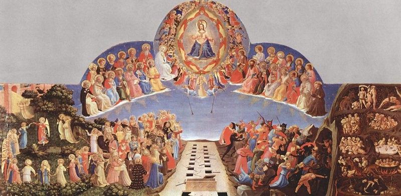 Ngày Phán Xét, các vị Thánh tham gia thẩm phán bên trên, đều có vòng hào quang trên đầu. (Ảnh:Tweeting with GOD)