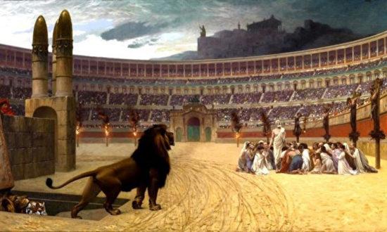 """Tranh dầu """"Lời cầu nguyện cuối cùng của những người tử vì đạo Cơ Đốc"""" của họa sỹ Jean-Leon Gerome (1824-1904). (Mattes / Wikimedia commons)"""