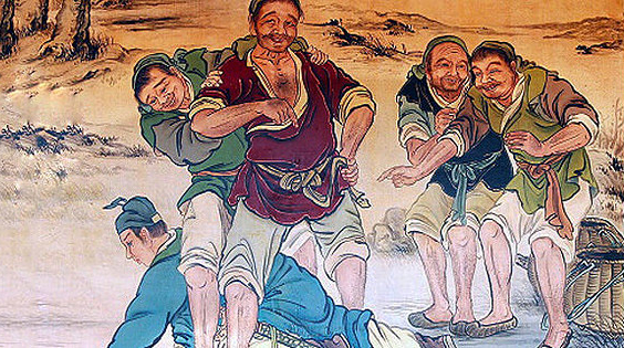 (Tranh minh họa Hàn Tín chịu nhục chui háng)