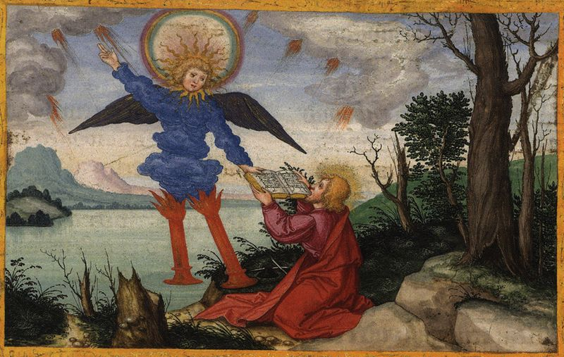 Tranh: Thánh John nhận cuộn sách từ vị thiên sứ và ăn nó.