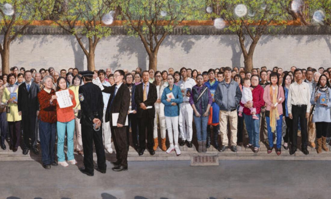 Giải vàng Cuộc thi Vẽ tranh Quốc tế: Bức tranh về cuộc đàn áp của ĐCSTQ ngày 25/4/1999