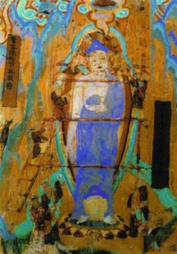Cảnh người dân lắp đầu Phật vào bức tượng được mô tả trong các bức tranh treo tường ở Động Mạc Cao (Ảnh: Internet)