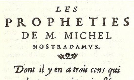 """Bìa ngoài cuốn sách """"""""Những lời tiên tri'' của Nostradamus xuất bản năm 1568."""