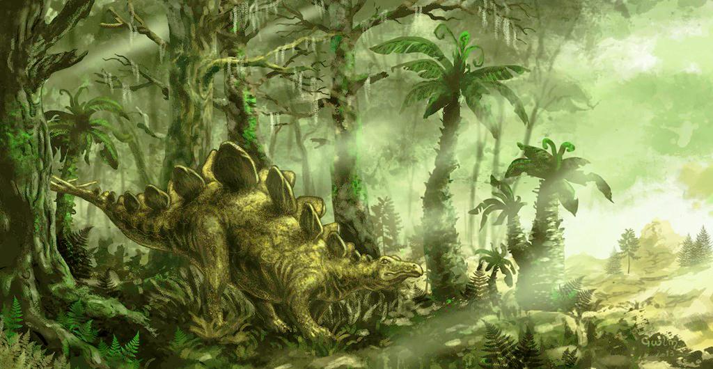 Hình vẽ tái hiện khủng long phiến sừng Stegosaurus thời tiền sử. (Ảnh qua Deviant Art)