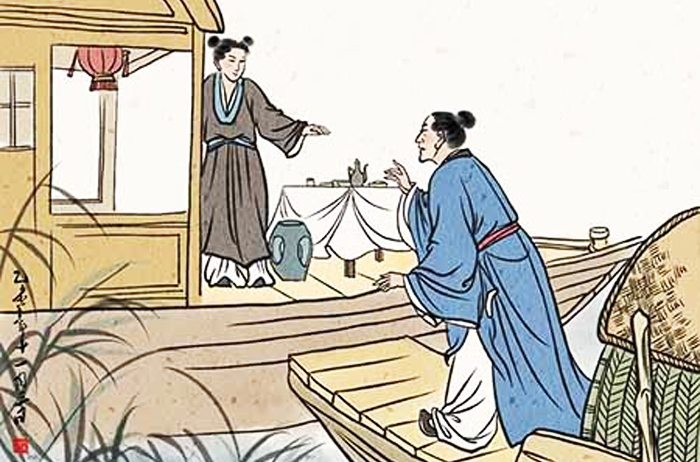 Vương Khả Giao còn chưa hết kinh ngạc, thì chiếc thuyền của mình đã dựa sát bên chiếc thuyền rồng của các đạo sĩ rồi. (Ảnh: Kknews)