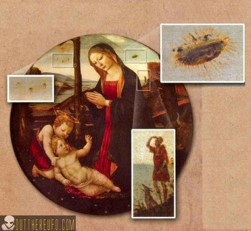 """UFO trong bức tranh """"Madonna và Thánh Giovannino"""""""