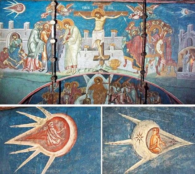 """UFO trong bức tranh """"Chúa Jesus bị đóng đinh trên cây thánh giá"""""""